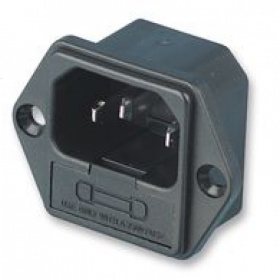 IEC Flanged Panel Mount Male, 250V 6.3A